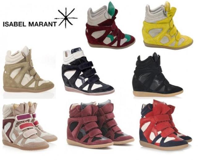 Les baskets compensées d'Isabel Marant. Pas cher, un si bel objet.